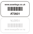 photo of a white asset tag label with barcode